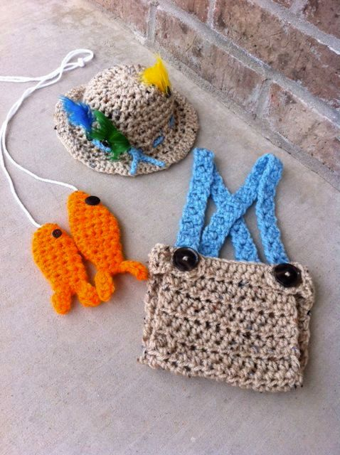 crochet fishing hat, fishing outfit, fishing hat with matching diaper cover and fish, fishing photo prop https://www.etsy.com/listing/152185168/handmade-crochet-newborn-fishing-outfit?ref=shop_home_active_17