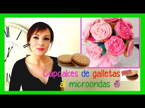 ▶ Cupcakes de galletas principe sin horno (en microondas) con presentación de ramo de flores - YouTube