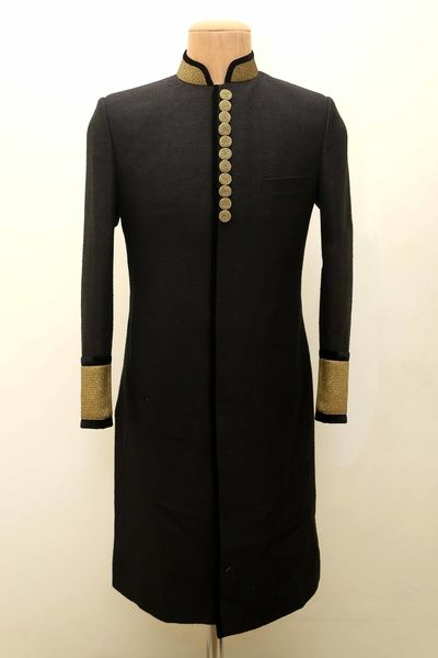 High neck bandhgala with full sleeves, black and gold , engagement and sangeet bandhgala kurta , classic, minimalistic achkan silhouette