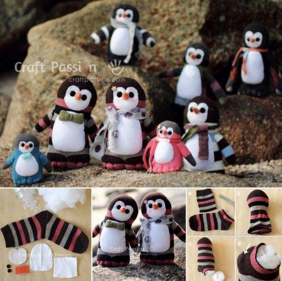 Penguin Sock Family Free Pattern