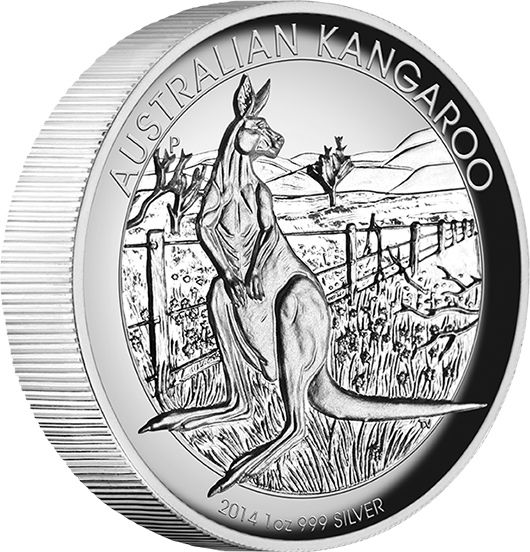 2014 Australian Kangaroo 1oz High Relief Silver Proof Coin.The high relief Australian Kangaroo coin represents the very best in minting excellence and design. The coin's reverse depicts an adult kangaroo standing on its haunches, next to a fence on a rural property in Australia. The design includes the inscription AUSTRALIAN KANGAROO, The Perth Mint's 'P' mintmark, and the 2014 year-date.