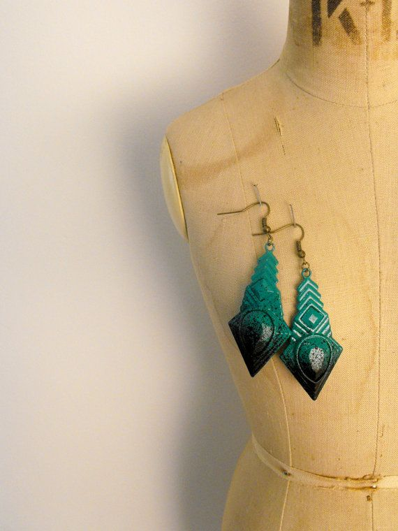 Up cycled Splatter Jade Green & Black Paint by VioletJewelleryCo