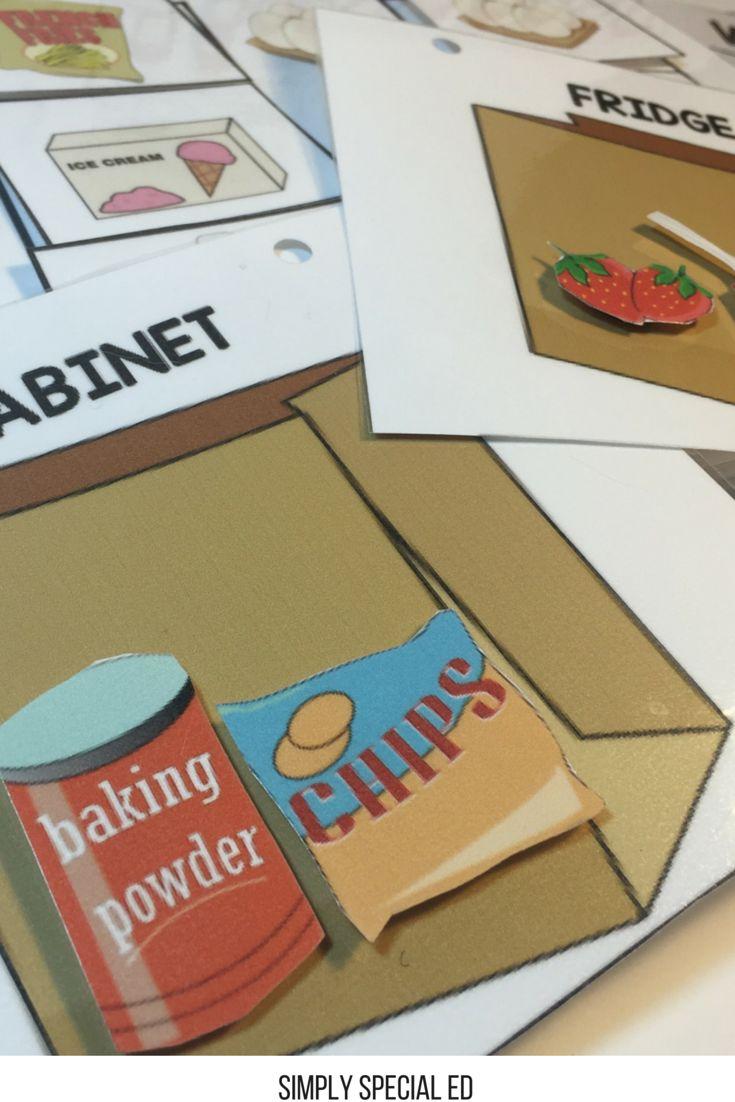 Fridge or Cabinet? Life skills file folders for Autism