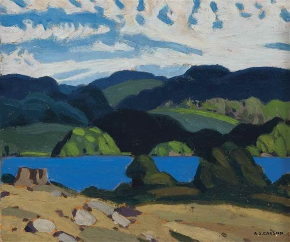 A.J. Casson - Haliburton Lake 9.25 x 11.25 Oil on board (1923)