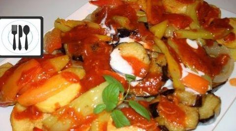 Вкусные жареные овощи с соус…