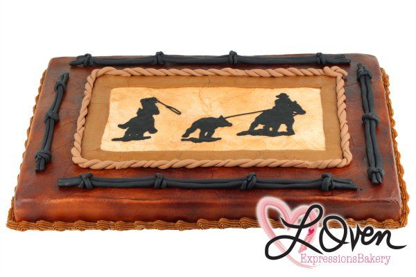 ....with bucking horse image in the middle instead. Full Sheet Cowboy Roping Cake - L'Oven Expressions Bakery- Grooms cake