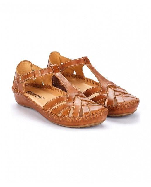 360c9ae2bf334 Sandalias planas de mujer Pikolinos de piel marrón