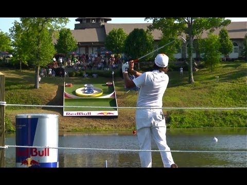 Red Bull crafted a man-made skee ball platform for golfers to try to hit while on a boat