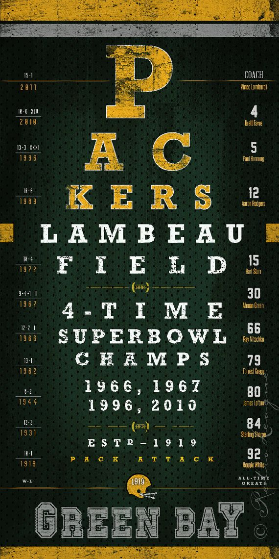 Green Bay Packers Eye Chart - Super Bowl Seasons - Perfect Christmas and Birthday Gift - Unframed Prints