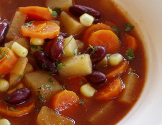 A delicious soup for chilly days-or even not so chilly ones.  And its healthy too!  (Moderately adapted from a recipe on allrecipes.com.)  Note: The sodium-free and low-sodium items in this recipe can be replaced with their higher sodium counterparts-just add less additional salt.