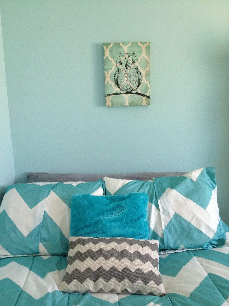 Owl Canvas, Chevron Pillow, Aqua, Grey, White, Body Pillow, Chevron