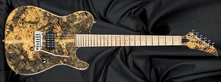 Kiesel Guitars TL60T, buckeye burl top (50), pointed angled headstock (PTH), stainless frets (STF), no top inlays side dots only (NIN), birdseye maple fingerboard (BMF), Lithium bridge pickups (KLB), ivory tusq nut (IVN), black logo (BL)