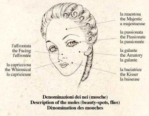 Beauty spots had different meanings in 1700.  http://marega.it/your-700-venetian-makeup/