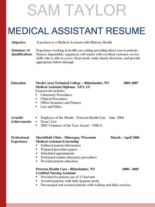 Sample Resumes For Medical Assistant Sample Resumes Awesome Sample Resumes For Medical Assis In 2020 Medical Assistant Resume Medical Resume Template Medical Resume