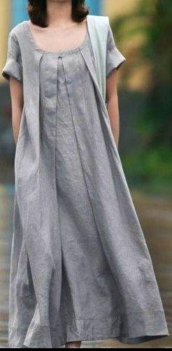 Grey Linen dress women dress fashon dress Long dress with a belt. $58.50, via Etsy. Clothing, Shoes & Jewelry : Women : Accessories : belts http://amzn.to/2m1lkpw