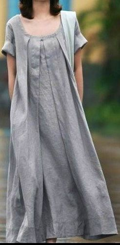 Grey Linen dress women dress fashon dress Long dress with a belt. $58.50, via Etsy.