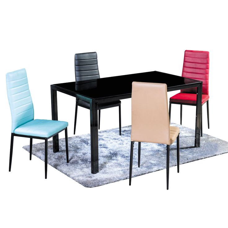 Dining Table Black Tempered Glass Power Coating Legs HOT SALE
