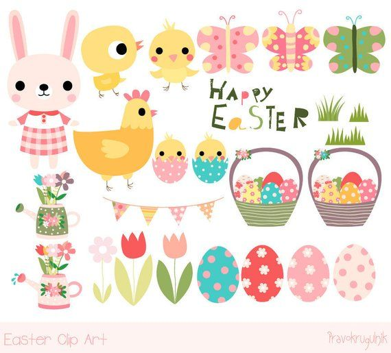 Easter bunny kawaii. Cute clipart happy clip