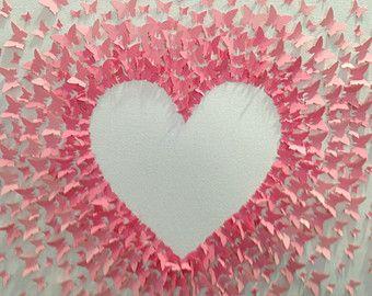 custom handmade 3D paper butterfly canvas, butterflies, nursery decor, romantic wedding gift, reverse heart---made to order.