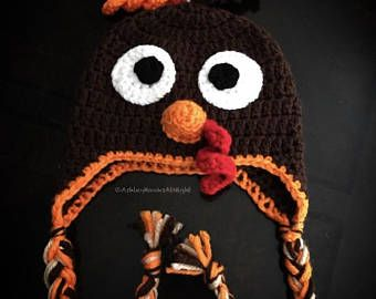 Turkey hat, crochet turkey hat, earflap hat, braided ear flap hat, baby hat, winter hat, animal hat, baby shower present, thanksgiving