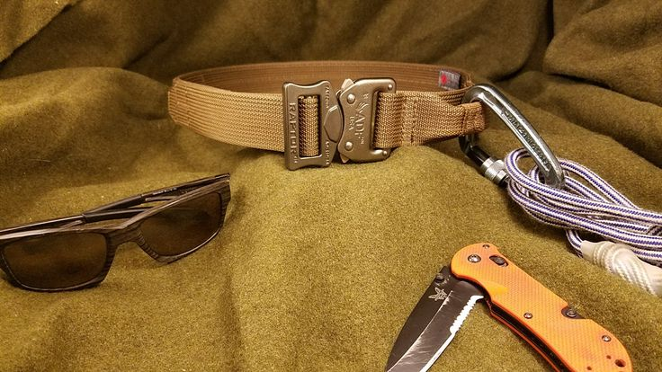"""What do all three of these things have in common? All are made in America. Visit caltacsewing.com  for this 1.5"""" EDC belt in coyote brown with emergency repelling loop."""