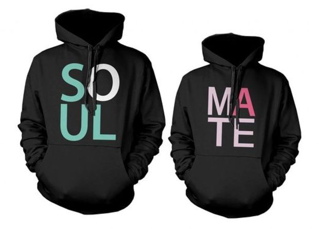365 In Love His and Her Soul Mate Matching Hoodies for Couples