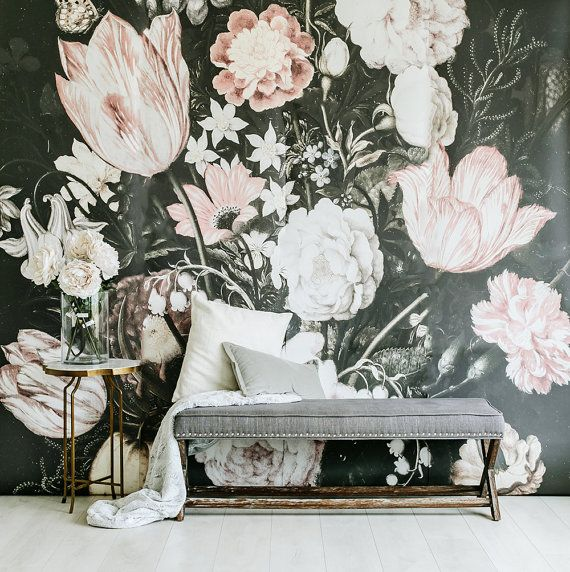 "Blossoms  - Large Wall Mural, Large Flowers Mural, Dark Floral, 120"" x 120"""
