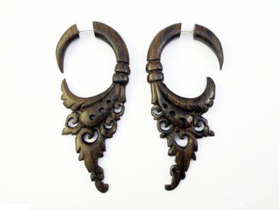 Earrings Fake Gauge Earrings Wooden Flower Circle Drops Tribal Earrings - FG004 W
