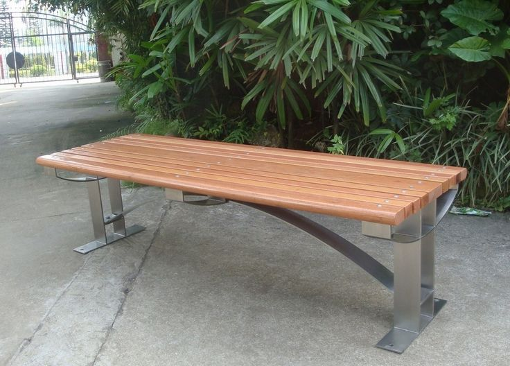 Backless Wood And Stainless Steel Street Bench Seating, View Stainless  Steel Street Bench, Gavin