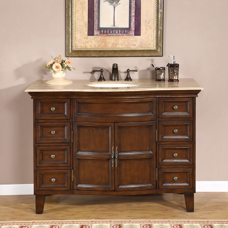 silkroad exclusive claire english chestnut single sink on lowes vanity id=68054