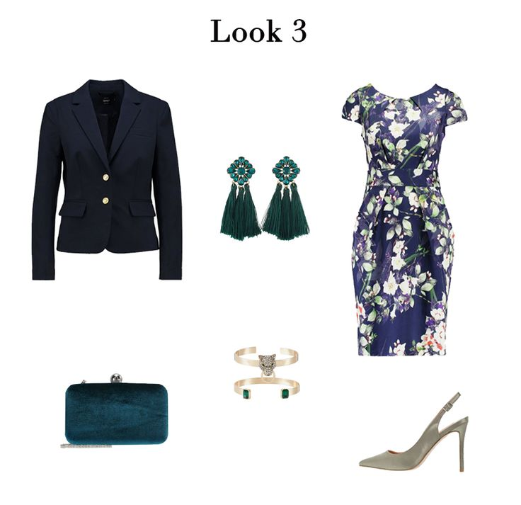 Blue floral print midi dress+grey sling-back pumps+turquoise clutch+navy blazer+turquoise earrings+bracelets. Fall Wedding Guest Outfit 2017