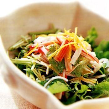 三つ葉とせりのゆずドレッシング   安藤美奈子さんのおつまみの料理レシピ   プロの簡単料理レシピはレタスクラブネット