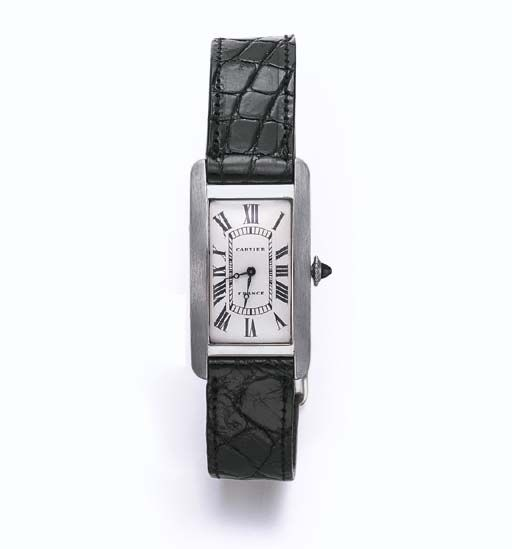"A ""TANK CINTREE"" WRISTWATCH, BY CARTIER  With nickel-finished lever movement, 18 jewels, the white rectangular dial, with black Roman numerals and blued steel hands, enhanced by a cabochon sapphire crown, within a platinum rectangular case and 18k gold deployant buckle, circa 1928, 2½ ins. diameter, with French assay mark Dial and deployant buckle signed Cartier, Paris; interior of case back and movement signed European Watch and Clock Co. Inc.,"