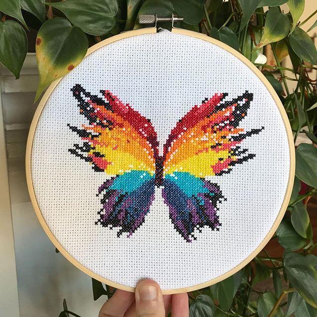 Rainbow butterfly cross stitch pattern :) #leiapatterns #crossstitch #crossstitching #crossstitcher #crossstitchlovers #xstitcher #xstitch #xstitching #crossstitchaddict #moderncrossstitch #crossstitchlove #countedcrossstitch #pointdecroix #xstitchersofinstagram #crossstitchersofinstagram #stitchersofinstagram