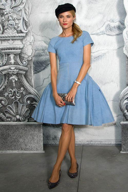Diane Kruger en Chanel : si jolie dans sa #robe corolle effet #jean