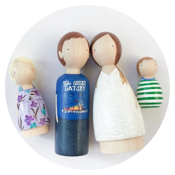 Wooden Peg Doll Family // Custom Wooden Peg Dolls // Wooden Peg People // Waldorf Doll // Montesori //PegHead Peg Dolls // Wooden Pegs