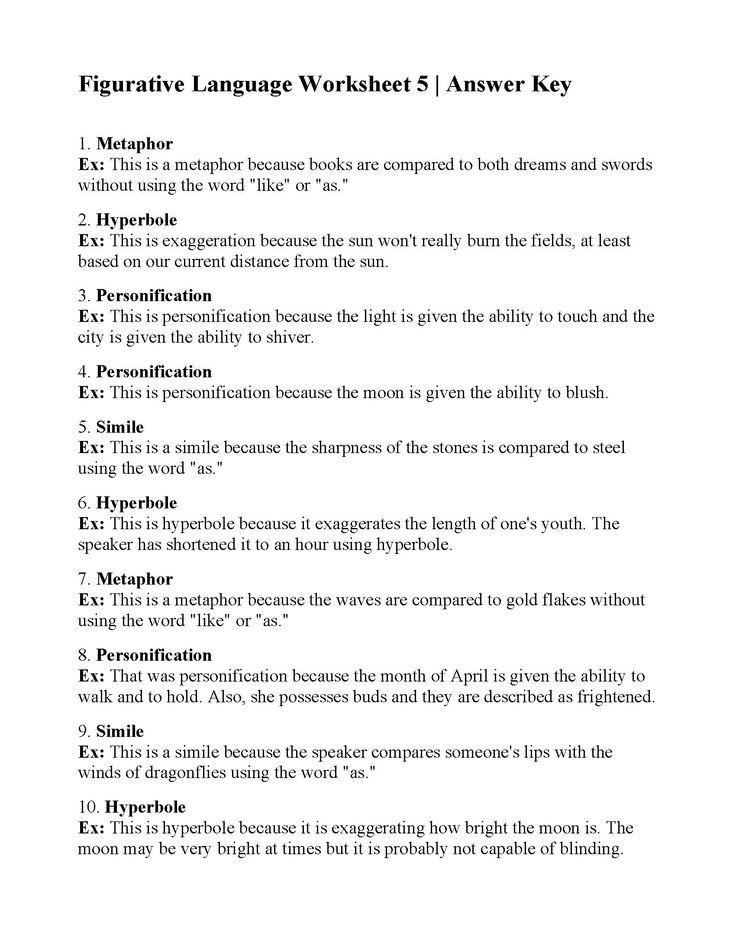 Figurative Language Worksheet 5 Ans Figurative