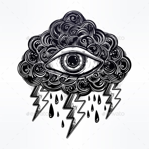 Vintage Traditional Tattoo Flash Eye in the Cloud. - Tattoos Vectors