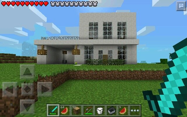 My first minecraft pe modern house my mcpe creations for Modern house minecraft pe