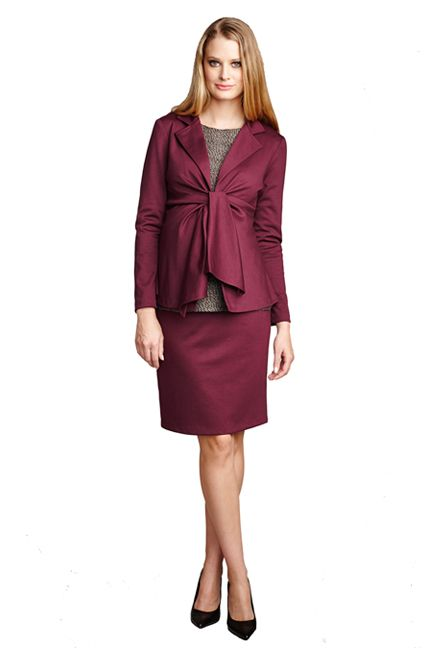 Maternal America Audrey Long Sleeve Front Tie Blazer | Maternity Clothes www.duematernity.com
