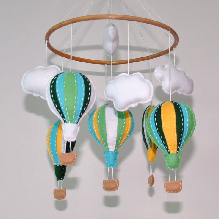 Hot Air Balloon Baby mobile ~ felt balloons - felt clouds - nursery mobile - made to order - crib mobile - pick your own colours. by RazzleDazzle4U on Etsy https://www.etsy.com/listing/162631356/hot-air-balloon-baby-mobile-felt