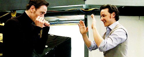 James Mcavoy and Michael Fassbender being cute dorks