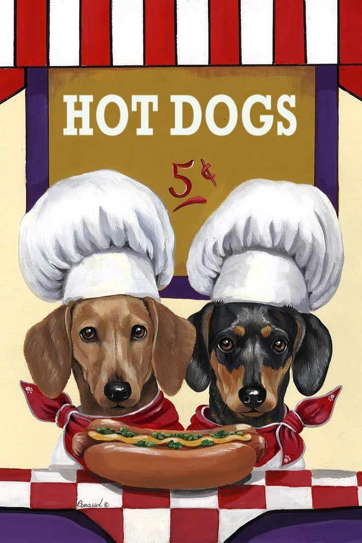 Hot Dog Wiener Poster with two Doxies ♥                                                                                                                                                                                 More