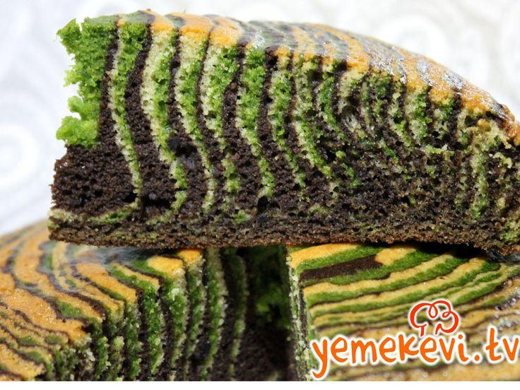 Ispanaklı Kakaolu Zebra Kek, Cake Recipes, Turkish Cuisine, Turkish Cooking Recipes, www.yemekevi.tv, www.facebook.com/YemekeviTV, www.twitter.com/yemekevitv, www.youtube.com/user/fvayni
