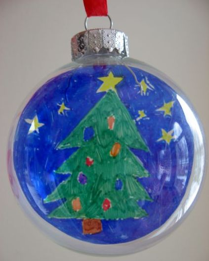 No link on this one - kids artwork in those clear balls they sell at craft stores -- such a great idea.  Maybe use small pieces they bring home from school :-)