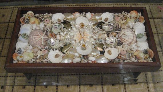 Handcrafted Sea Shell Coffee Table In Solid Oak Nautical