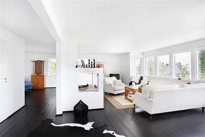 Scandinavian house: Love the black floorboards