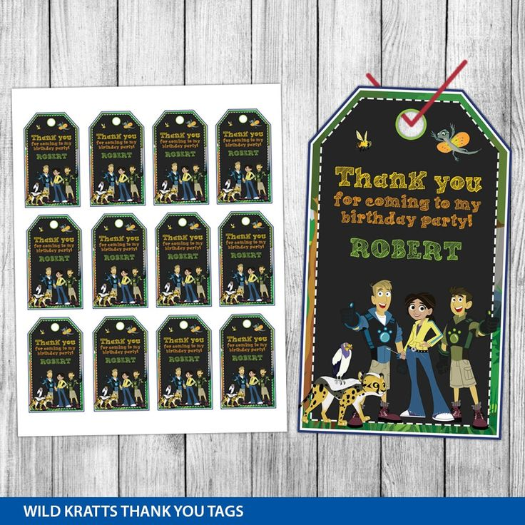 Wild Kratts Thank You Tags, Wild Kratts Favor Tags, Wild Kratts Gift Tags, Wild Kratts Tags, Tag Printable, Birthday Tags, Printable Tags This product listing is for a personalized thank you tags in DIGITAL PRINTABLE FILE only. NO PHYSICAL ITEM will be shipped to you. >>>>HOW THIS WORKS<<<< The thank you tags size is 1.75x3 inches. There will be 12 designs per page. The page size is 8.5x11 inches. I will customize your thank you tags. Your customize thank you tags wi...