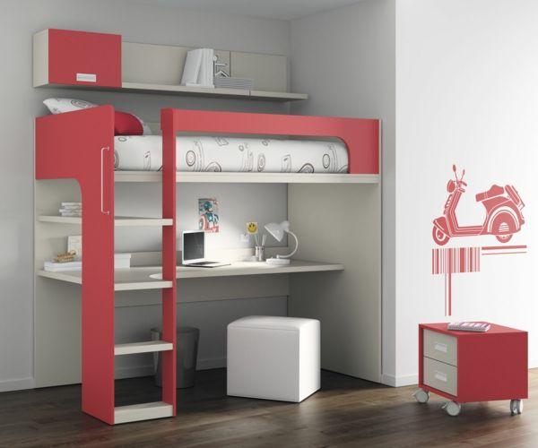 Lit Mezzanine Ado Avec Bureau Et Rangement Chambre Design Cards