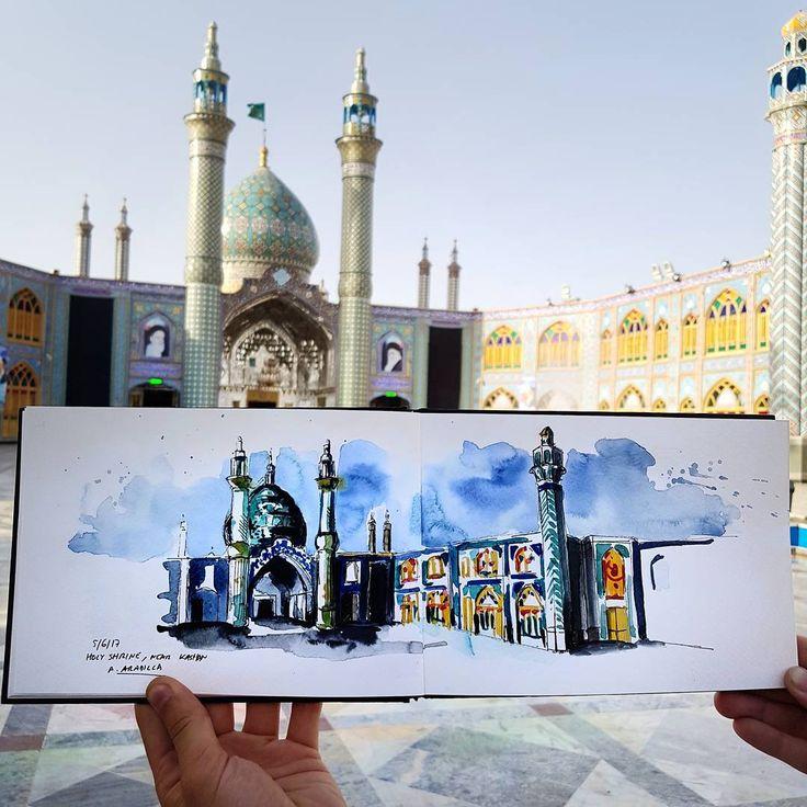 "877 Beğenme, 10 Yorum - Instagram'da Alicia Aradilla (@a.aradilla): ""Holy Shrine. Stunning! #kashan #holyshrine #everydaykashan #iran #urbansketch #urbansketchers…"""